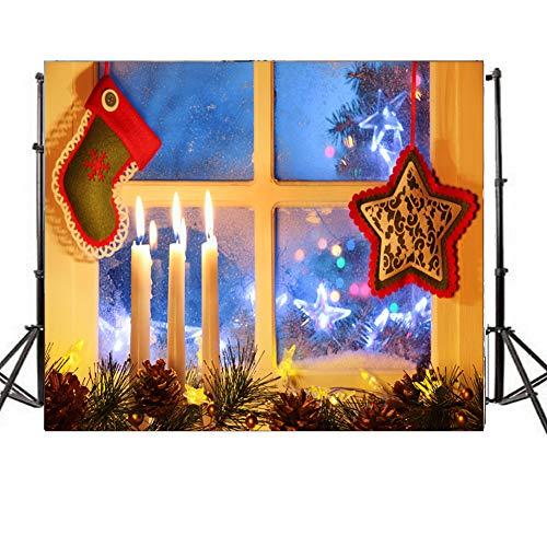 Duurzame stof Kerstmis Thema Achtergrond, Kaars Sock Venster Foto Achtergrond voor Kerstmis Feestartikelen Afbeeldingen Banner Fotografie Studio Decor Booth Props