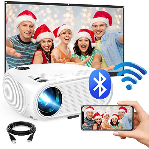 "WiFi Mini Projector, 2020 Upgraded 4500 Lux Portable Bluetooth Video Projector, Support 1080P HD 200"" Screen for Home & Outdoor Movie Theater, for iOS Android Phone,TV Stick,HDMI,USB,TF,VGA"