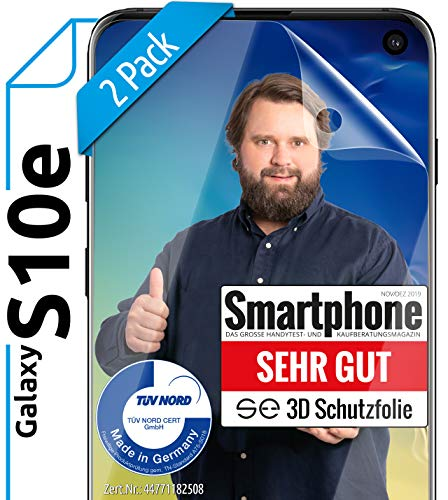 [2 Stück] 3D Schutzfolien kompatibel mit Samsung Galaxy S10e - [Made in Germany - TÜV NORD] – HD Bildschirmschutz-Folie - Hüllenfre&lich – Transparent – kein Schutz-Glas - Panzer-Folie TPU