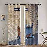 DONEECKL Wizard Black out Window Curtain Secret Way to The Train to Magical World Kings Cross Station Famous Landmark Picture 2 Panel Sets W55 x L63 Inch Brown