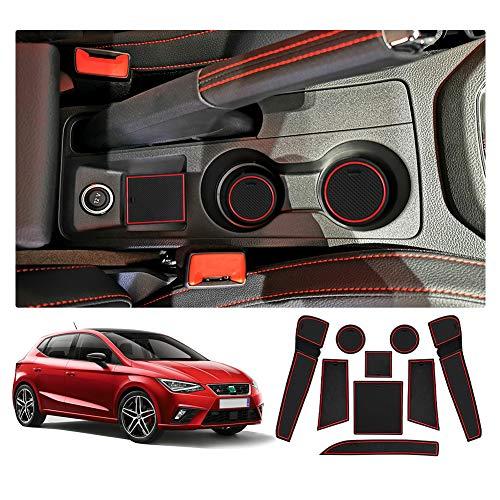 YEE PIN Gummimatten Seat Ibiza Typ 6F / Seat Arona SUV Zubehör Interieur rutschfeste Matten für Mittelkonsole Aufbewahrungsbox Autoteile Innenausstattung (Not fits Ateca Fr Model)