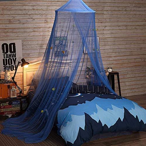 Kleine Prinses Prince Klamboe Ronde Dome Gordijn bedhemel Lace Meisjes Boy Tent Bedding, met Star Decor, for 1.2M - 1.8M Bed, Donkerblauw QIANGQIANG (Color : Dark Blue)