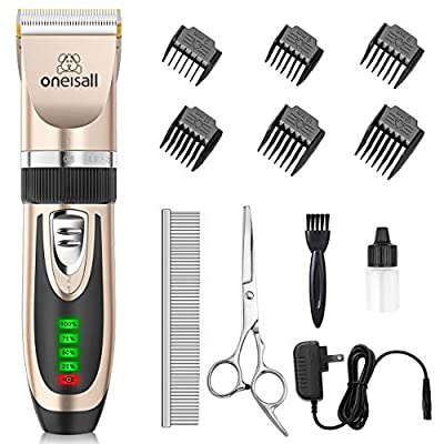 oneisall Dog Clippers Low Noise, 2-Speed Quiet Dog Grooming Kit Rechargeable Cordless Pet Hair Clipper Trimmer Shaver for Small and Large Dogs Cats Animals by oneisall