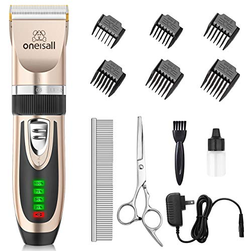 oneisall Dog Clippers Low Noise, 2-Speed Quiet Dog Grooming Kit Rechargeable Cordless Pet Hair Clipper Trimmer Shaver for Small and Large Dogs Cats Animals