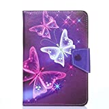 PHEVOS 7''/7.85''/8'' Tablet Pc Case Cover, Foldable and Solid Stand Case, Compatible with All Universal 7 inch Tablets PC (Pink Butterfly)