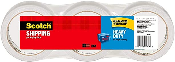 """Scotch Heavy Duty Shipping Packaging Tape, 1.88"""" x 54.6 Yards, 3"""" Core, Clear, Great for Packing, Shipping & Moving, 3 Rol..."""