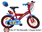 EDEN-BIKES VELO 14' GARCON PAT PATROUILLE 2 FREINS PB/BIDON AR + CASQUE Vélo...