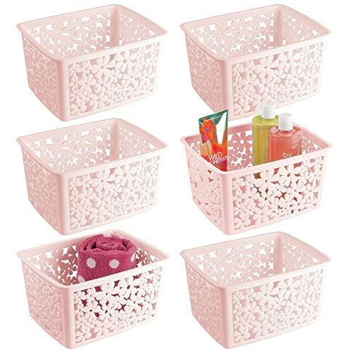 mDesign Plastic Bathroom Storage Basket Bin for Organizing Hand Soaps Body Wash Shampoos Lotion Conditioners Hand Towels Hair Accessories Body Spray - Large Floral Design 6 Pack - PinkBlush
