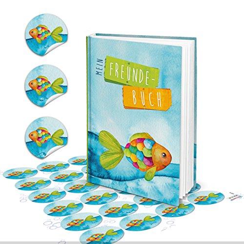 Geschenk-SET Buch Freundebuch Freundschaftsbuch DIN A5 für Kinder mit REGENBOGENFISCH Fisch martitim türkis blau + 24 Fische Aufkleber - Geschenk Geburtstag Kommunion für Jungen Mädchen