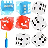 Giant Inflatable Dice with Pump, Jumbo Die Set in 3 Colors (12 Inches, 9 Pieces)