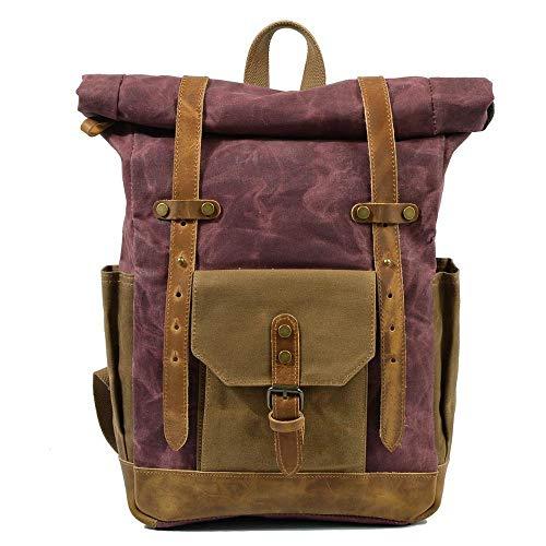 Fashion Backpack Leather Canvas Men Backpack School Bag Military Backpack Women Rucksack Male Knapsack Bagpack Mochila New-Blue
