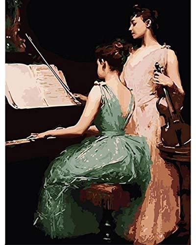 N/O Olieverfschilderij door cijfers Kits Piano viool spelen voor kinderen en volwassenen DIY Digitale Schilderen Muur Kunst Kunstwerk voor Huis Woonkamer Decor 16x20inch Frameless