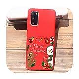 Nuevo año Feliz Navidad alce copo de nieve lindo teléfono caso para Samsung S20 plus S10 plus S8 S9 Plus A50 A70 suave TPU silicona cubierta-TPU Q1384-rojo-para Samsung S20 Plus