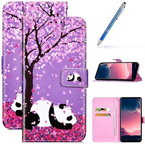 Kompatibel mit Samsung Galaxy A51 Leder Hülle Handytasche Handyhülle Bunt Motiv Muster Hülle Klappbar Schutzhülle Flip Wallet Case Brieftasche Klapphülle Wallet Case Tasche,Kirschblüten Panda