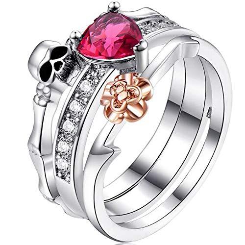Jude Jewelers Retro Vintage Platinum Plated Heart Shaped Stone Rose Skull 3-in-1 Wedding Engagement Bridal Ring Set (Silver, 8)