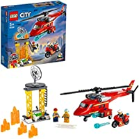 LEGO 60281 City Fire Rescue Helicopter Toy with Motorbike, Firefighter and Pilot Minifigures