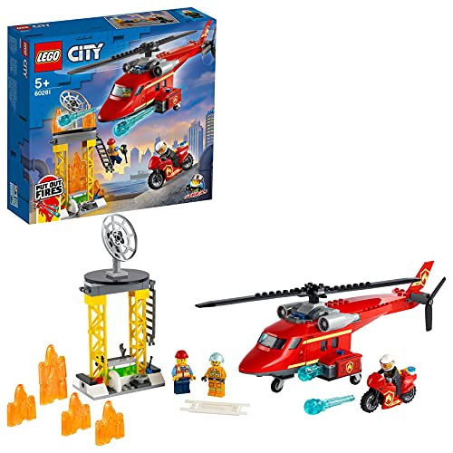 LEGO 60281 City Feuerwehrhubschrauber, Helikopter Spielzeug für Kinder ab 5 Jahre mit Motorrad, Minifiguren von Feuerwehrmann und Piloten