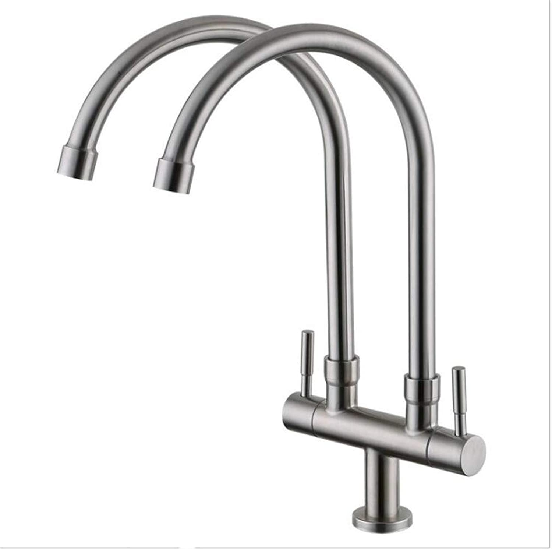 Bathroom Sink Basin Lever Mixer Tap 304 Stainless Steel Double-Handled Split Kitchen Faucet