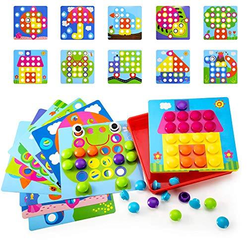 Geekper Mosaik Steckspiel für Kinder ab 2 Jahre mit 46 Steckperlen und 10 Bunten Steckplatten, Pädagogische Baustein Sets, Lernspielzeug