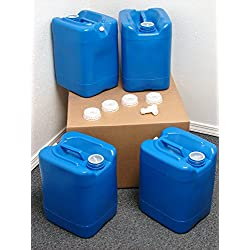 API Kirk Containers 5 Gallon Samson Stackers, Blue, 4 Pack (20 Gallons), Emergency Water Storage Kit – New! – Clean…