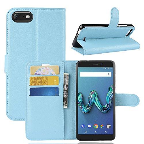 HongMan Handyhülle für Wiko Tommy 3 Hülle, Premium Leder PU Flip Hülle Wallet Lederhülle Klapphülle Magnetisch Silikon Bumper Schutzhülle Tasche mit Kartenfach Geld Slot Ständer, Blau