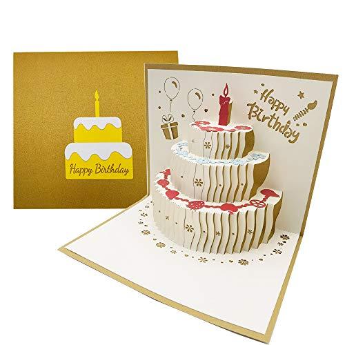 3D Pop Up Creativo Biglietto Auguri Compleanno con Busta, 3-Strati Torta Biglietti Augurali Compleanno con Candela Rossa, Frutta, Fiori, Palloncini per Famiglia, Amici - D'oro