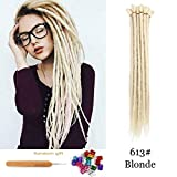 Dsoar Blonde Synthetic Dreads 20 Inch Handmade Dreadlock Extensions 12 Strands/Pack Twist Braiding Hair Hippie Crochet Braids (613#,Blonde Color)
