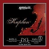 Cuerda individual Mi para violín con terminación de lazo Kaplan de D'Addario, serie Golden Spiral Solo, escala 4/4, tensión media.