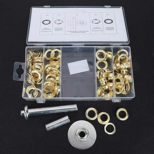 Kit de herramientas de ajuste de arandelas de arandelas de metal 103 piezas Kit de arandelas de tienda accesorios de tienda para ropa de cuero con caja de almacenamiento