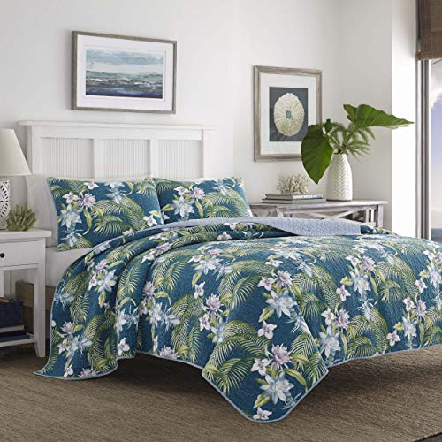 Tommy Bahama Southern Breeze Quilt Set, Twin, Dark Blue