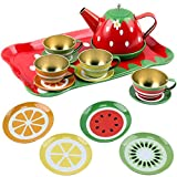 Liberty Imports Kids Fruit Themed Tin Tea Party Toy Set - Metal Teapot and Cups for Childrens Kitchen Pretend Play (14 Pieces)