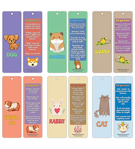 Creanoso Pet Fun Facts Learning Bookmark Cards (12-Pack) – Premium Quality Set – Dog, Hamster, Iguana, Guinea Pig, Rabbit, Cat Facts for Kids – Teacher Rewards and Classroom Incentives