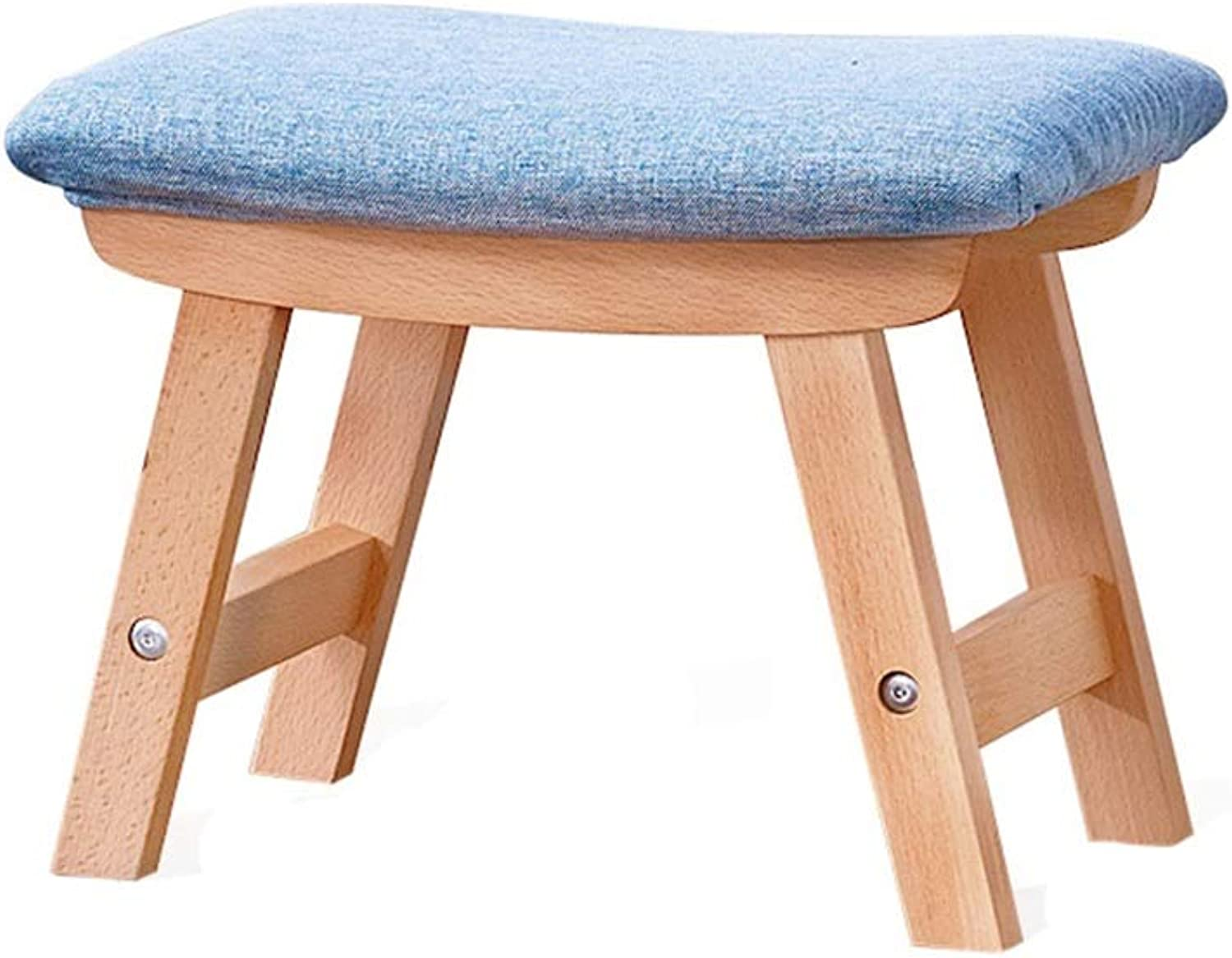 Fabric Footstool, Restaurant Hotel Small Stool Living Room Bedroom Footstool Wood Rectangle Small Bench Height 29CM (color   bluee)