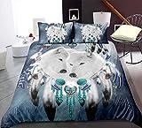 Bohemia Wolf Lion Dream Catcher Funda nórdica, diseño de mandala indio de microfibra suave Bedidng conjunto con fundas de almohada, para niños adultos (A,220X240)