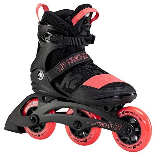 K2 Inline Skates TRIO LT 100 W Für Damen Mit K2 Softboot, Black - Coral, 30F0128