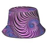 Sombrero de Pescador Plegable con Textura en Espiral Azul y Rosa Abstracto en...
