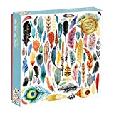 """Galison Jigsaw Puzzle, Feathers, 500 Pieces, 20"""" x 20'' – Vibrantly Illustrated Image of Colorful Feathers with Gold Foil Accents - Thick, Sturdy Pieces, Perfect for Family Fun"""