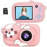 Zwini Enfants caméra Appareil Photo numérique 2,4 Pouces à écran 32g Carte mémoire USB Rechargeable Selfie caméra 26mp 1080p Double lentille Enfant en Bas âge (Rose)
