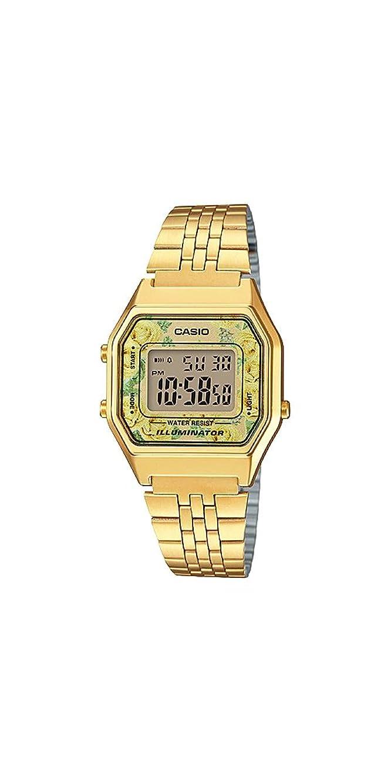 Casio #LA680WGA-9C Women's Vintage Floral Gold Tone Chronograph Alarm Digital Watch