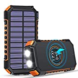 ADDTOP Solar Charger 26800mAh, Solar Power Bank with 4 Outputs & 2 LED Flashlights Qi Wireless Backup Battery Portable Solar Panel Charger for Camping and Outdoor