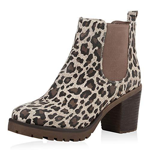 SCARPE VITA Damen Stiefeletten Chelsea Boots Profilsohle 70?s Schuhe 125355 Leopard Leopard 37