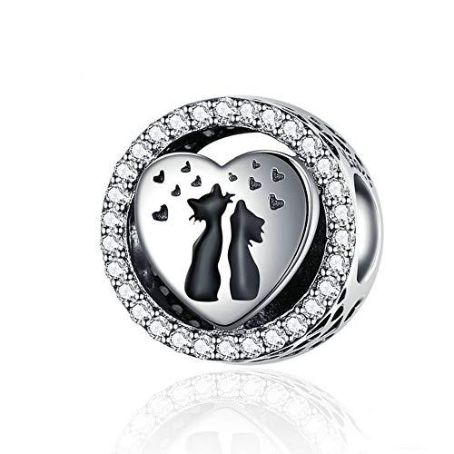 GaLon Encanta granos, S925 plata esterlina amor del gato granos hechos a mano bricolaje femeninos de animales lindo colgante de joyería y accesorios compatibles con Pandora y pulseras europeas Collare