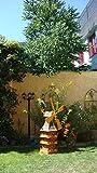 Große Windmühle, wetterfest,robust mit Bitumen, MIT WINDFAHNE Windrad-Seitenruder, dreistöckig, WMBR-K180at-OS,Windmühlen Garten, ohne o. mit Solarbeleuchtung, für Außen 1,80 m groß in schwarz
