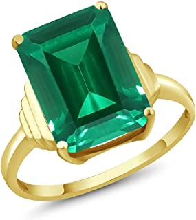 18K Yellow Gold Plated Silver Emerald Cut Green Simulated Emerald Women's Ring (6.50 Cttw, Available in size 5, 6, 7, 8, 9)