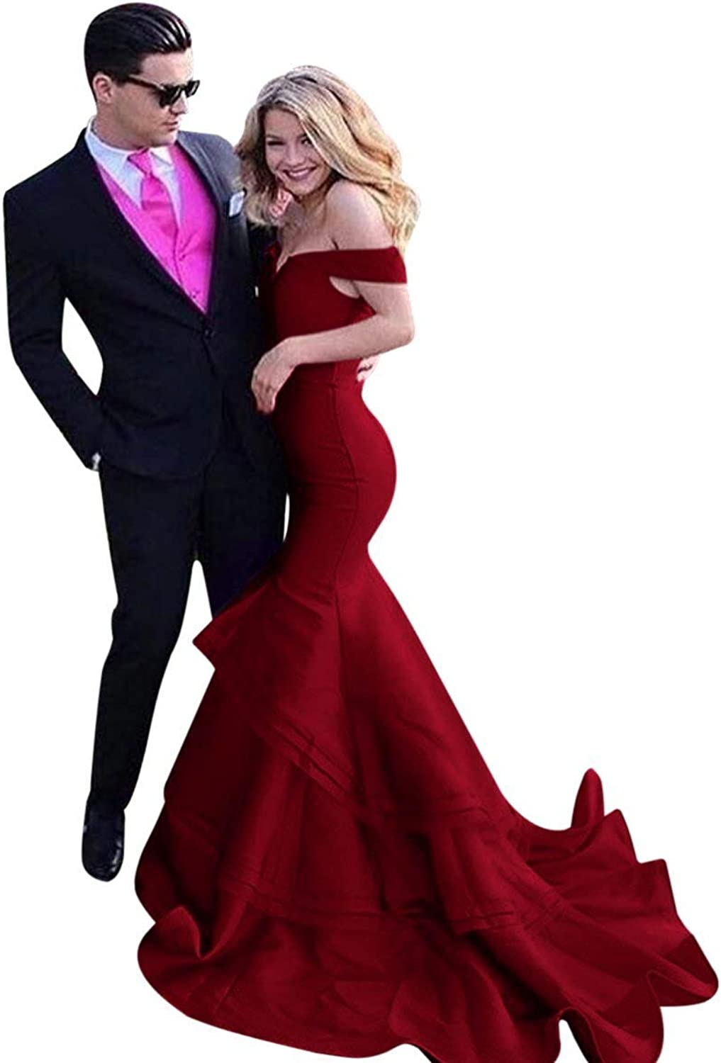 JQLD Women's Sexy Off Shoulder Prom Dresses Long Mermaid Ruffles Satin Evening Dress Party Gowns