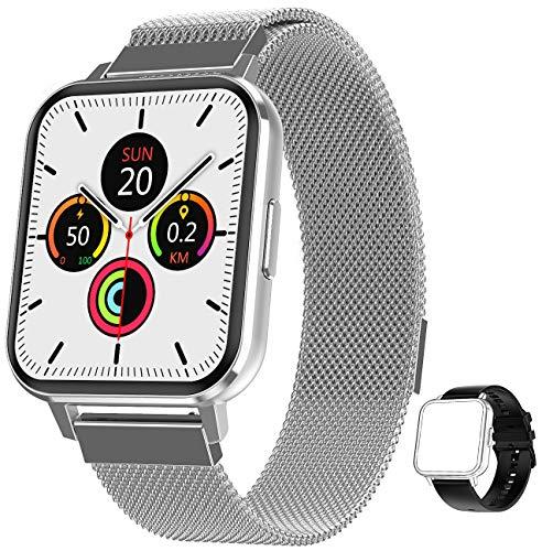 jpantech Smartwatch 1,78''HD Touch-Farbdisplay Fitness Armbanduhr mit Pulsuhr Fitness Tracker IP68 Wasserdicht Sportuhr Smart Watch mit Schrittzähler,Schlafmonitor,Stoppuhr für Damen Herren (Silber)