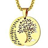Oro Amarillo 18K Medalla Oval Arbol de Familia Eden Eva Fruto Collar Moderno Religioso para Rezo Uso Diario
