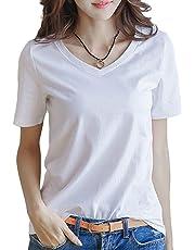 c58e5bf6833 半袖 Tシャツ レディース トップス 無地 カットソー Vネック きれいめ シンプル 薄手 おしゃれ S~