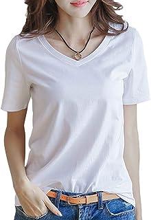 半袖 Tシャツ レディース トップス 無地 カットソー Vネック きれいめ シンプル 薄手 おしゃれ S~XL (黒・白・黄色・グレー・レッド) INNIFER