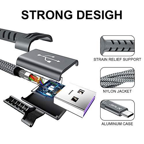 JSAUX USB Typ C Kabel 5A [1M 2 Stück] Schnell Ladekabel für Huawei Mate 30 P30 P20 P10 Pro Mate 20 P20 Lite Mate10 Mate 9 P10 P9 Plus MediaPad M6 M5 Pro Nova4 Nova5 Pro Nova2 Plus Supercharge - Grau - 5